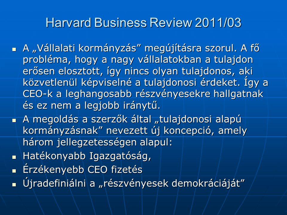 """Harvard Business Review 2011/03 A """"Vállalati kormányzás megújításra szorul."""