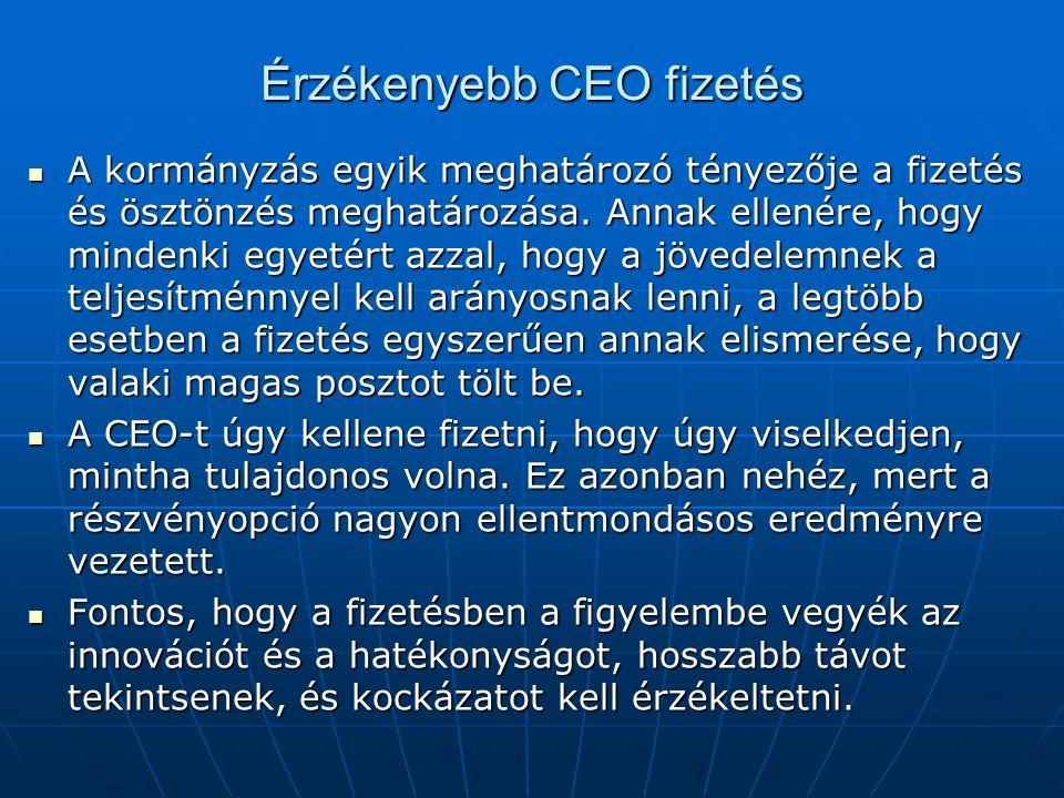 Érzékenyebb CEO fizetés A kormányzás egyik meghatározó tényezője a fizetés és ösztönzés meghatározása.