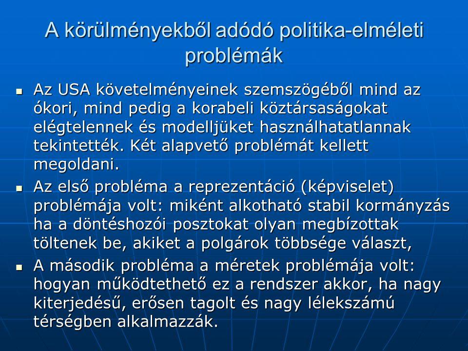 A körülményekből adódó politika-elméleti problémák Az USA követelményeinek szemszögéből mind az ókori, mind pedig a korabeli köztársaságokat elégtelen