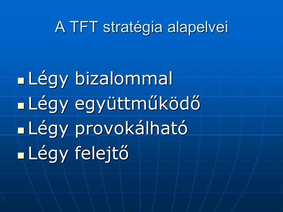 A TFT stratégia alapelvei Légy bizalommal Légy bizalommal Légy együttműködő Légy együttműködő Légy provokálható Légy provokálható Légy felejtő Légy fe