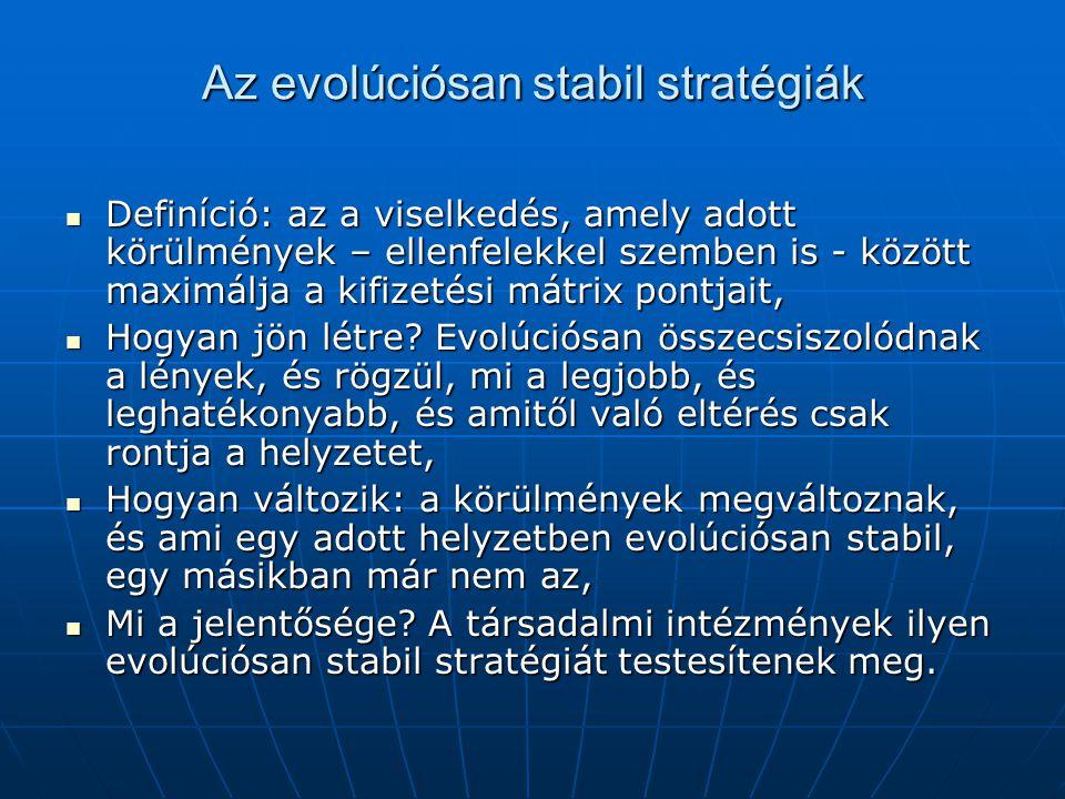 Az evolúciósan stabil stratégiák Definíció: az a viselkedés, amely adott körülmények – ellenfelekkel szemben is - között maximálja a kifizetési mátrix