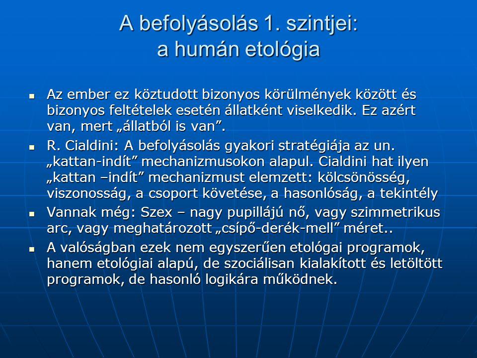 A befolyásolás 1. szintjei: a humán etológia Az ember ez köztudott bizonyos körülmények között és bizonyos feltételek esetén állatként viselkedik. Ez