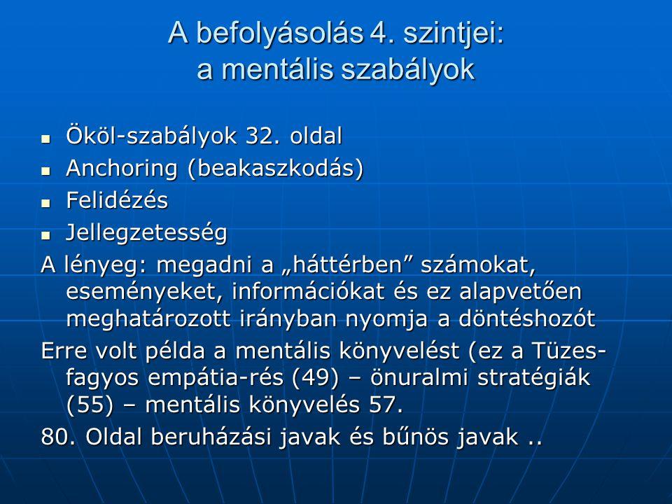 A befolyásolás 4. szintjei: a mentális szabályok Ököl-szabályok 32. oldal Ököl-szabályok 32. oldal Anchoring (beakaszkodás) Anchoring (beakaszkodás) F