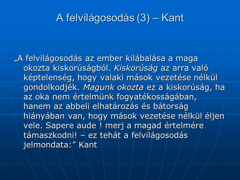 """A felvilágosodás (3) – Kant """" A felvilágosodás az ember kilábalása a maga okozta kiskorúságból. Kiskorúság az arra való képtelenség, hogy valaki mások"""