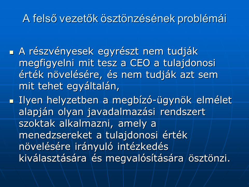 A felső vezetők ösztönzésének problémái A részvényesek egyrészt nem tudják megfigyelni mit tesz a CEO a tulajdonosi érték növelésére, és nem tudják azt sem mit tehet egyáltalán, A részvényesek egyrészt nem tudják megfigyelni mit tesz a CEO a tulajdonosi érték növelésére, és nem tudják azt sem mit tehet egyáltalán, Ilyen helyzetben a megbízó-ügynök elmélet alapján olyan javadalmazási rendszert szoktak alkalmazni, amely a menedzsereket a tulajdonosi érték növelésére irányuló intézkedés kiválasztására és megvalósítására ösztönzi.