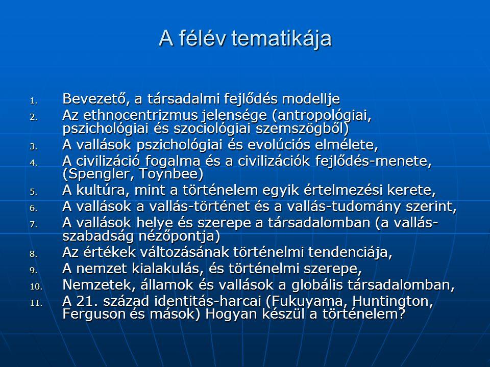 A félév tematikája 1. Bevezető, a társadalmi fejlődés modellje 2. Az ethnocentrizmus jelensége (antropológiai, pszichológiai és szociológiai szemszögb