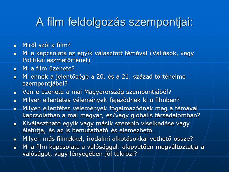 A film feldolgozás szempontjai: Miről szól a film? Miről szól a film? Mi a kapcsolata az egyik választott témával (Vallások, vagy Politikai eszmetörté