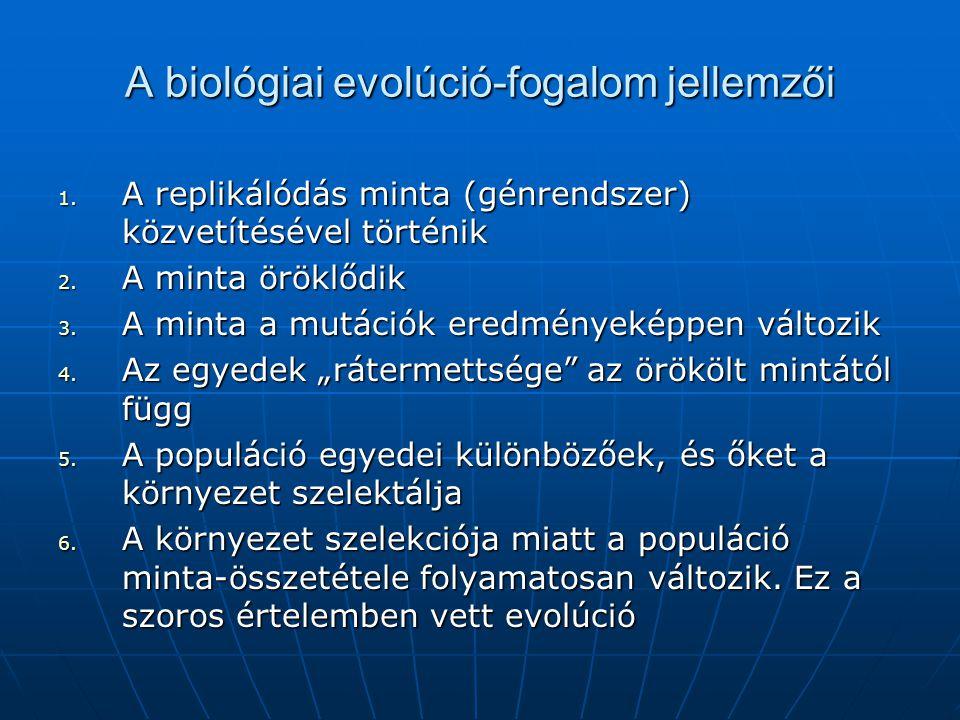 A biológiai evolúció-fogalom jellemzői 1. A replikálódás minta (génrendszer) közvetítésével történik 2. A minta öröklődik 3. A minta a mutációk eredmé