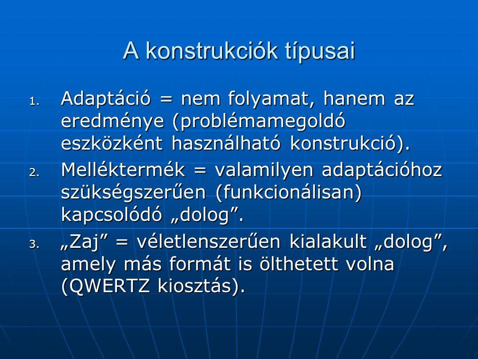 A konstrukciók típusai 1. Adaptáció = nem folyamat, hanem az eredménye (problémamegoldó eszközként használható konstrukció). 2. Melléktermék = valamil