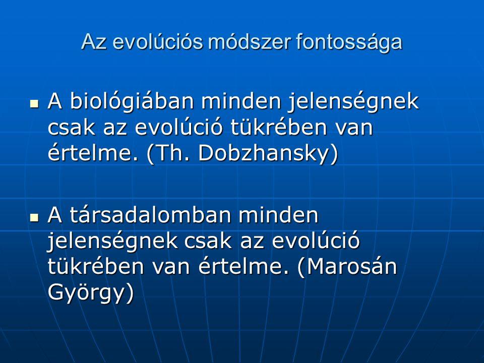 Az evolúciós módszer fontossága A biológiában minden jelenségnek csak az evolúció tükrében van értelme. (Th. Dobzhansky) A biológiában minden jelenség