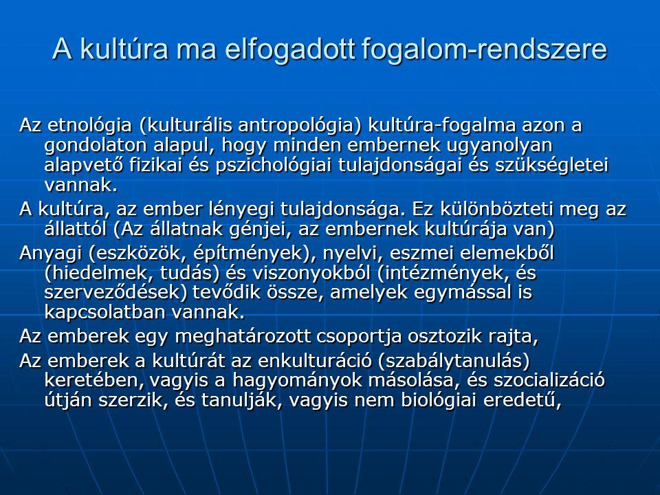A kultúra ma elfogadott fogalom-rendszere Az etnológia (kulturális antropológia) kultúra-fogalma azon a gondolaton alapul, hogy minden embernek ugyano