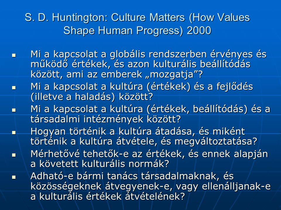 S. D. Huntington: Culture Matters (How Values Shape Human Progress) 2000 Mi a kapcsolat a globális rendszerben érvényes és működő értékek, és azon kul