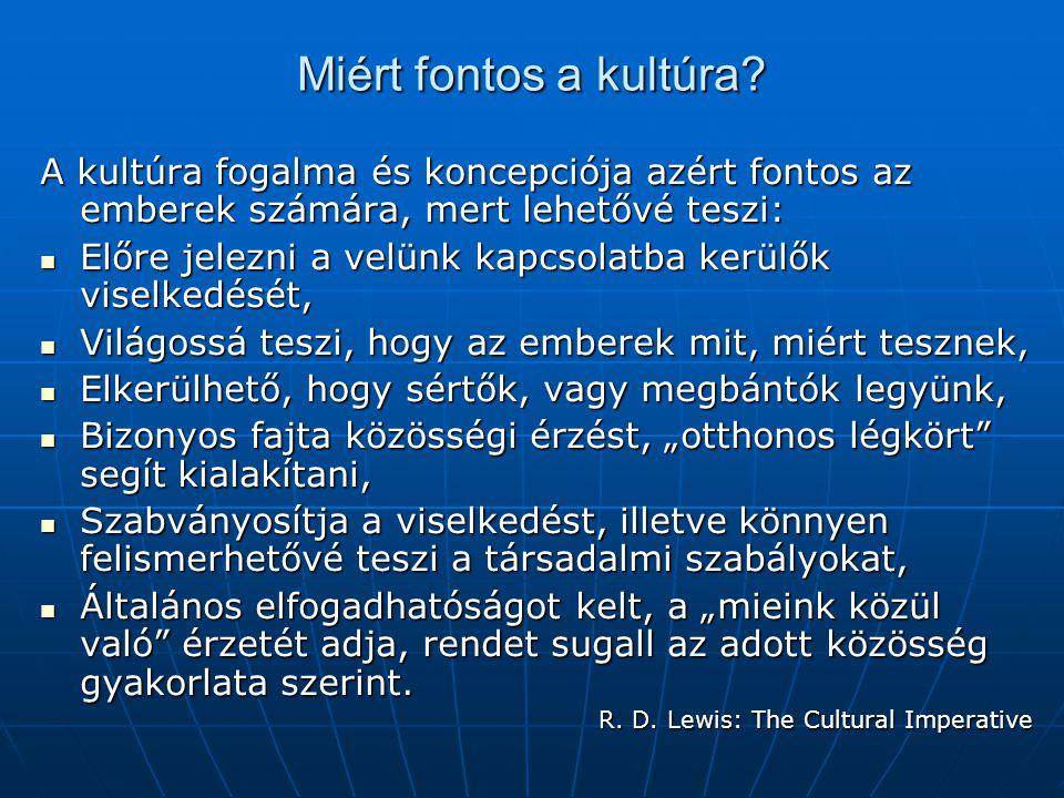 Miért fontos a kultúra? A kultúra fogalma és koncepciója azért fontos az emberek számára, mert lehetővé teszi: Előre jelezni a velünk kapcsolatba kerü