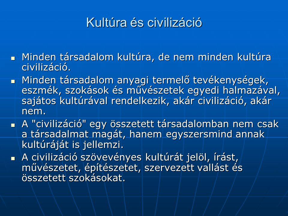 Kultúra és civilizáció Minden társadalom kultúra, de nem minden kultúra civilizáció. Minden társadalom kultúra, de nem minden kultúra civilizáció. Min