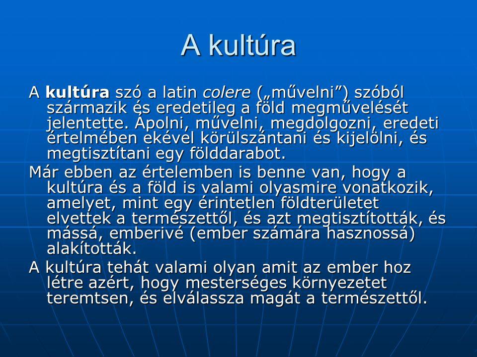 """A kultúra A kultúra szó a latin colere (""""művelni"""") szóból származik és eredetileg a föld megművelését jelentette. Ápolni, művelni, megdolgozni, eredet"""