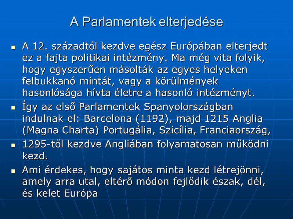 A Parlamentek elterjedése A 12. századtól kezdve egész Európában elterjedt ez a fajta politikai intézmény. Ma még vita folyik, hogy egyszerűen másoltá