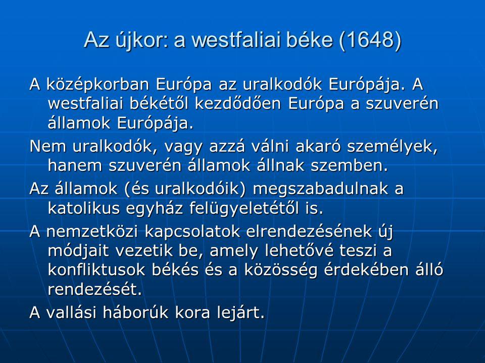 Az újkor: a westfaliai béke (1648) A középkorban Európa az uralkodók Európája. A westfaliai békétől kezdődően Európa a szuverén államok Európája. Nem