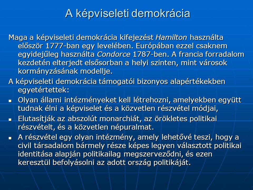 A képviseleti demokrácia Maga a képviseleti demokrácia kifejezést Hamilton használta először 1777-ban egy levelében. Európában ezzel csaknem egyidejűl