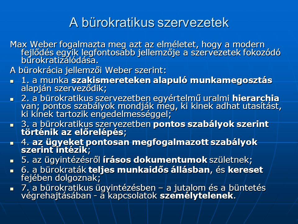 A bürokratikus szervezetek Max Weber fogalmazta meg azt az elméletet, hogy a modern fejlődés egyik legfontosabb jellemzője a szervezetek fokozódó büro
