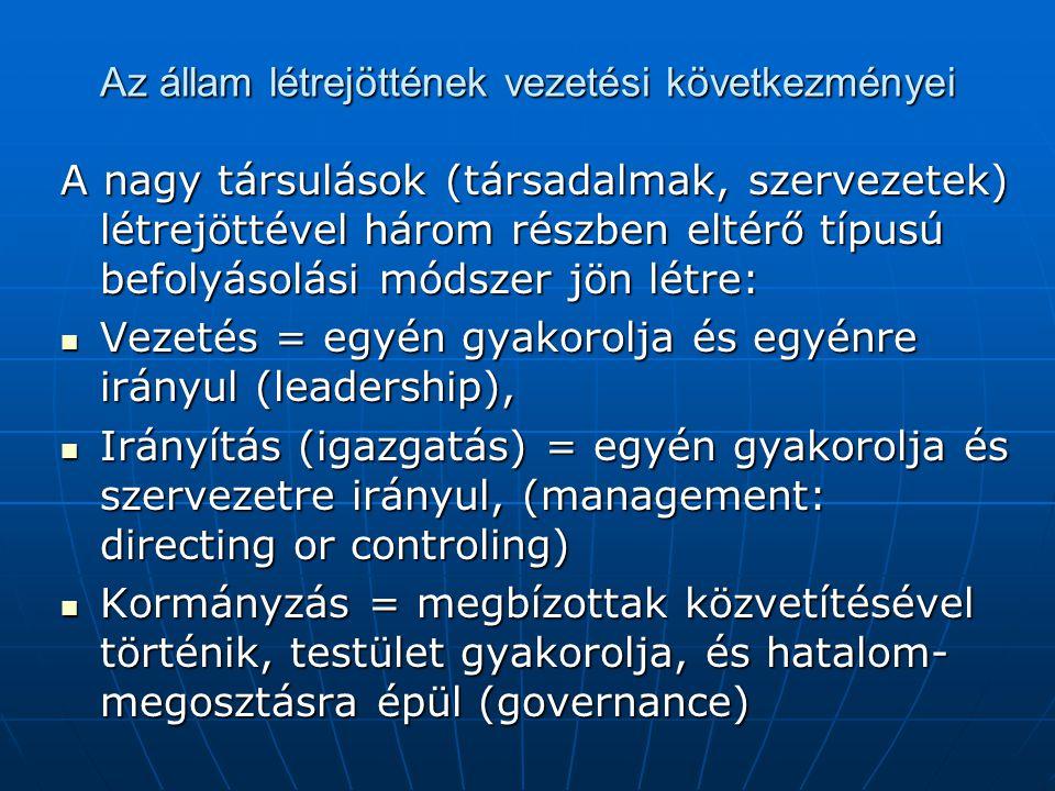Az állam létrejöttének vezetési következményei A nagy társulások (társadalmak, szervezetek) létrejöttével három részben eltérő típusú befolyásolási mó