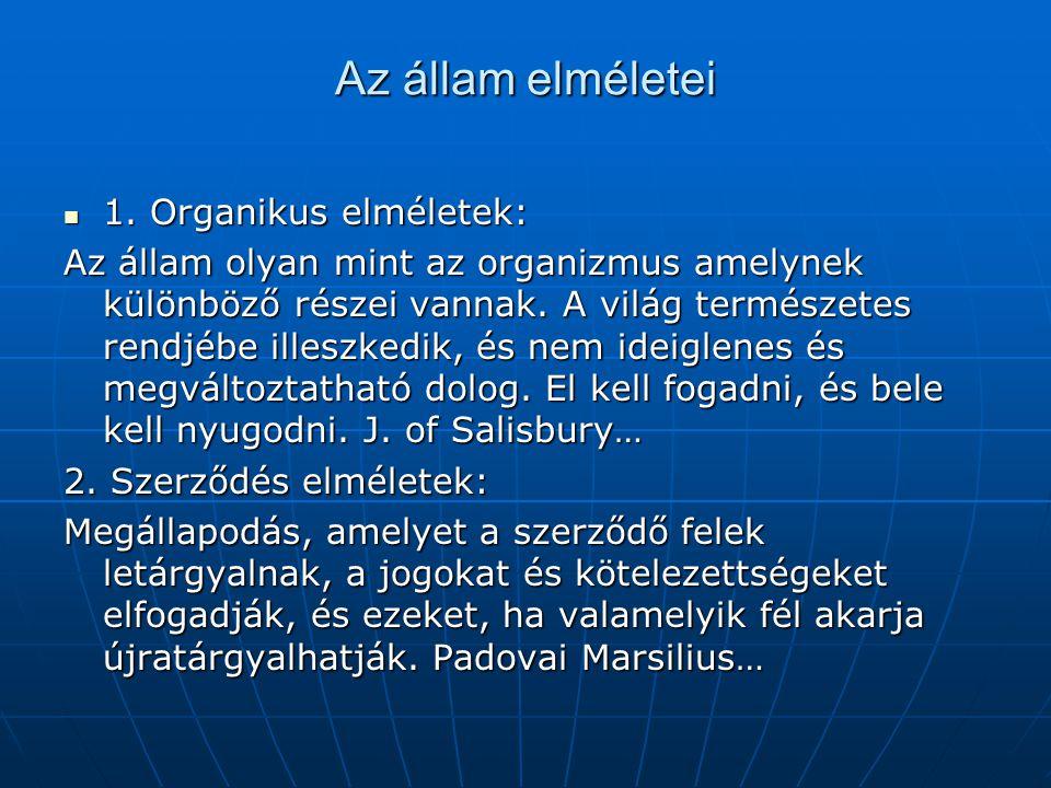 Az állam elméletei 1. Organikus elméletek: 1. Organikus elméletek: Az állam olyan mint az organizmus amelynek különböző részei vannak. A világ termész