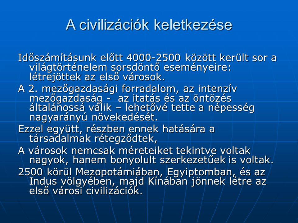 A civilizáció – legfontosabb összetevői 1.Új technológiák, pl.