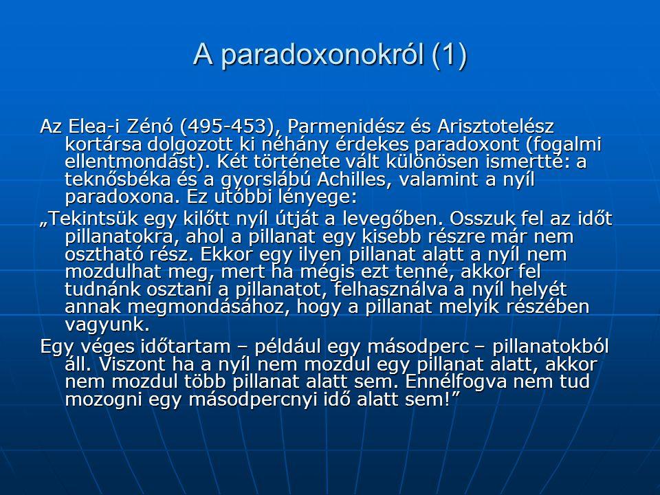 A paradoxonokról (1) Az Elea-i Zénó (495-453), Parmenidész és Arisztotelész kortársa dolgozott ki néhány érdekes paradoxont (fogalmi ellentmondást). K