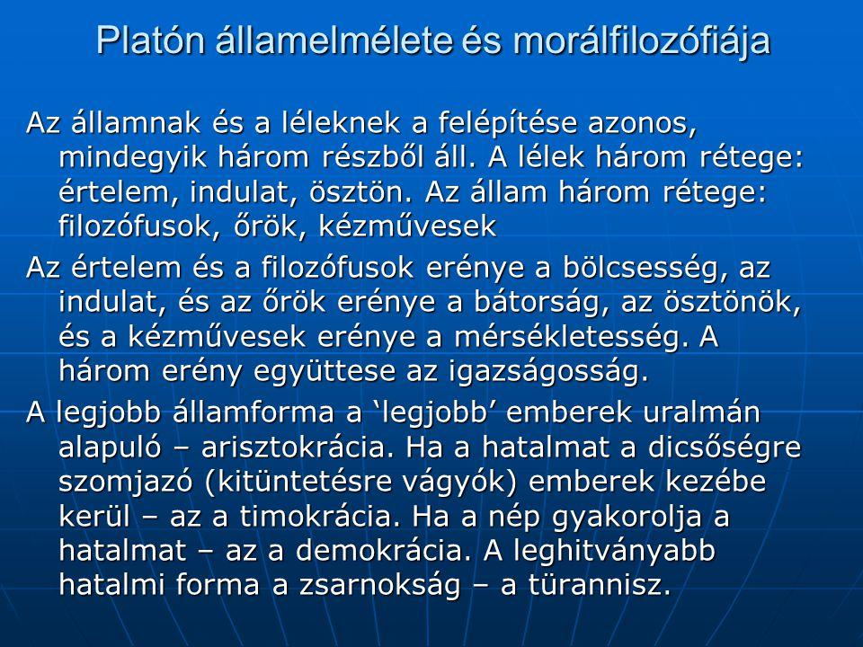 Platón államelmélete és morálfilozófiája Az államnak és a léleknek a felépítése azonos, mindegyik három részből áll. A lélek három rétege: értelem, in
