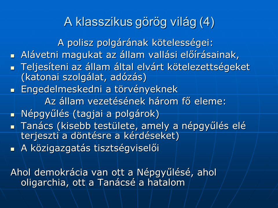 A klasszikus görög világ (4) A polisz polgárának kötelességei: Alávetni magukat az állam vallási előírásainak, Alávetni magukat az állam vallási előír