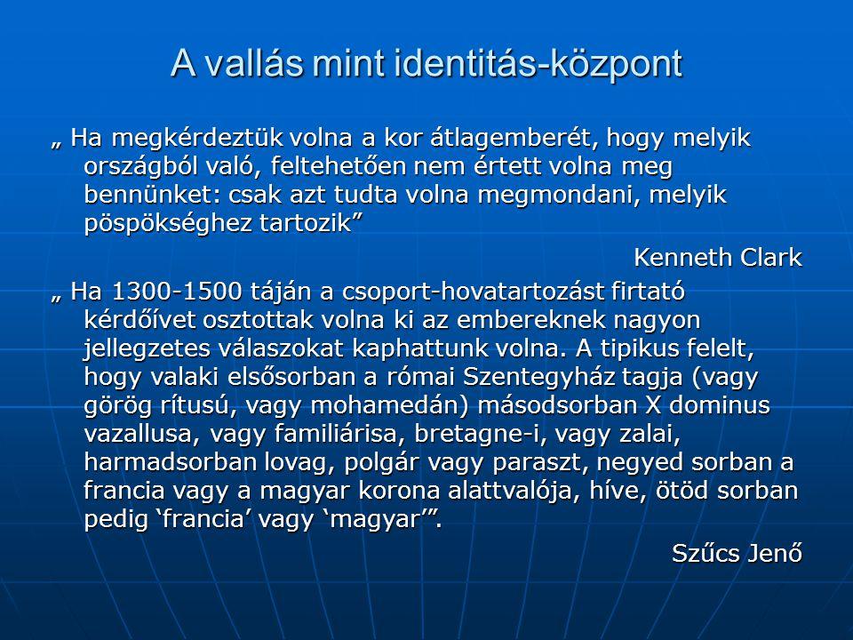 A kollektív identitások változása Dinasztikus szuverenitás Állami (térségi) szuverenitás Nemzeti szuverenitás Az identitás bázisaAz elismert királyA s