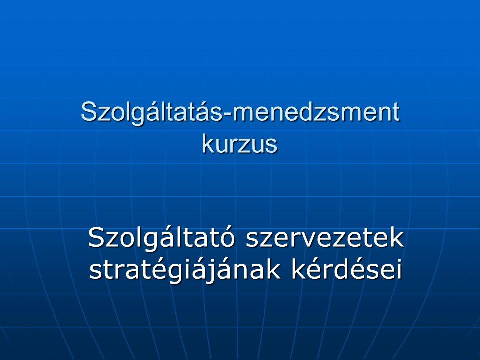 Szolgáltatás-menedzsment kurzus Szolgáltató szervezetek stratégiájának kérdései