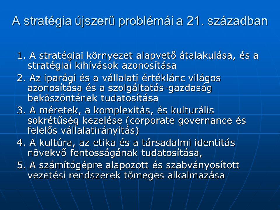 A stratégia újszerű problémái a 21. században 1. A stratégiai környezet alapvető átalakulása, és a stratégiai kihívások azonosítása 2. Az iparági és a