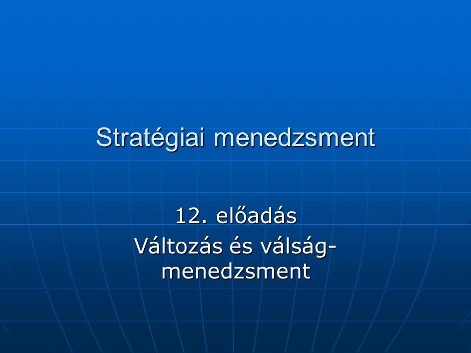A stratégiai menedzsment folyamata Stratégiai elemzés Stratégiai döntés A stratégia végrehajtása Környezet Erőforrások Érdekek Tervezés Szervezet Változás Döntés Összemérés Változatok
