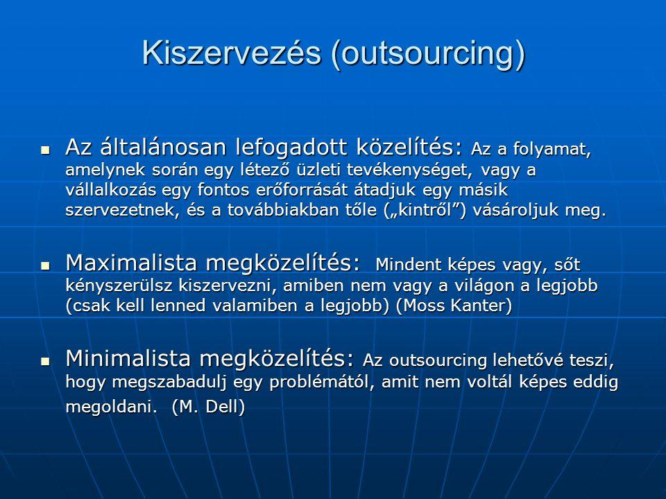 Kiszervezés (outsourcing) Az általánosan lefogadott közelítés: Az a folyamat, amelynek során egy létező üzleti tevékenységet, vagy a vállalkozás egy f