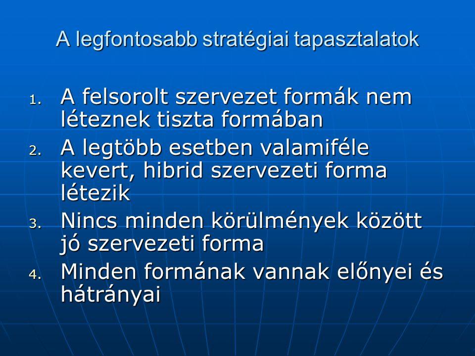 A legfontosabb stratégiai tapasztalatok 1. A felsorolt szervezet formák nem léteznek tiszta formában 2. A legtöbb esetben valamiféle kevert, hibrid sz