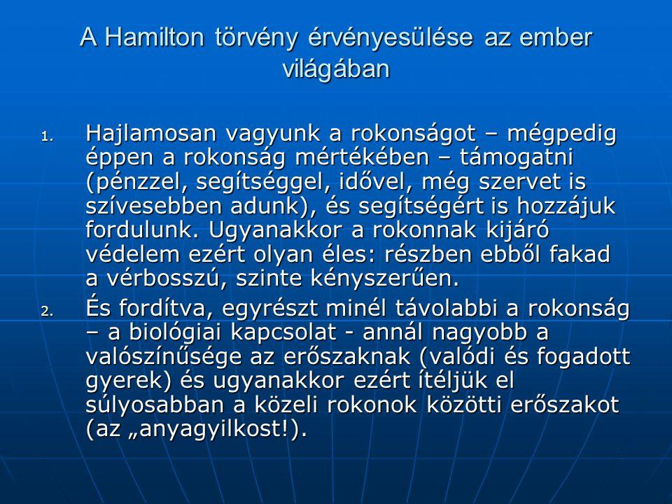 A Hamilton törvény érvényesülése az ember világában 1. Hajlamosan vagyunk a rokonságot – mégpedig éppen a rokonság mértékében – támogatni (pénzzel, se