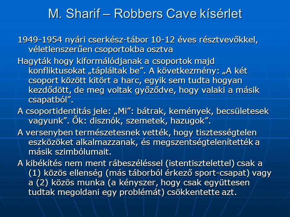 M. Sharif – Robbers Cave kísérlet 1949-1954 nyári cserkész-tábor 10-12 éves résztvevőkkel, véletlenszerűen csoportokba osztva Hagyták hogy kiformálódj