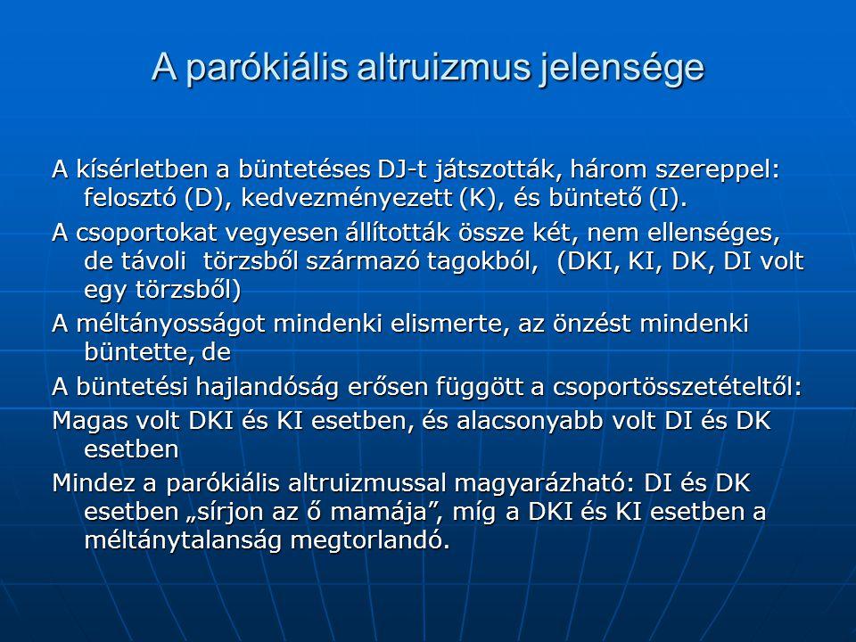 A parókiális altruizmus jelensége A kísérletben a büntetéses DJ-t játszották, három szereppel: felosztó (D), kedvezményezett (K), és büntető (I). A cs