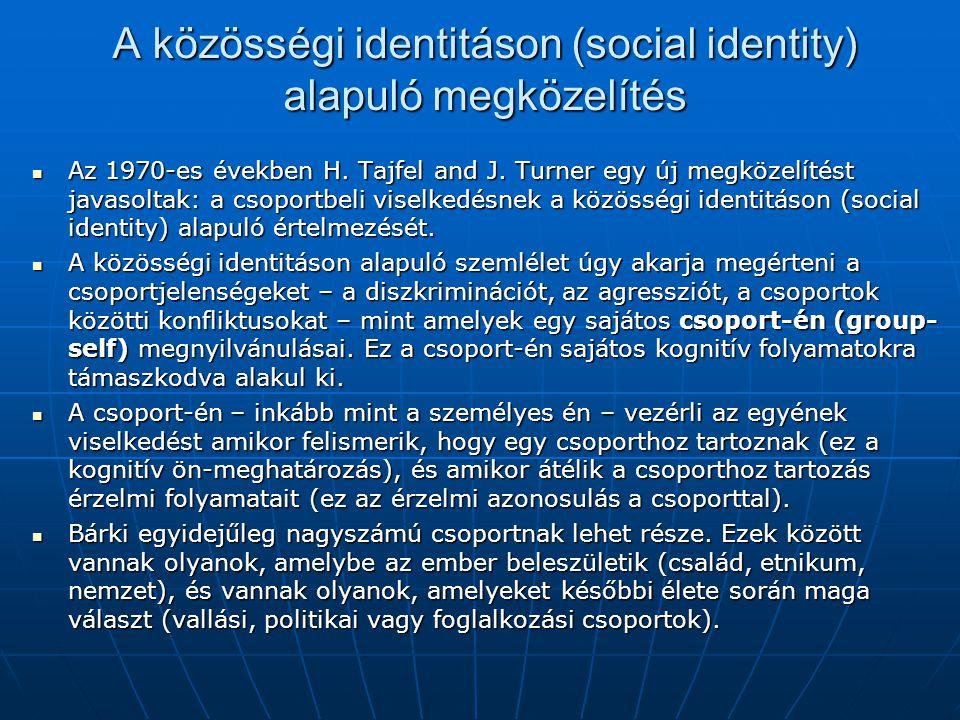 A közösségi identitáson (social identity) alapuló megközelítés Az 1970-es években H. Tajfel and J. Turner egy új megközelítést javasoltak: a csoportbe