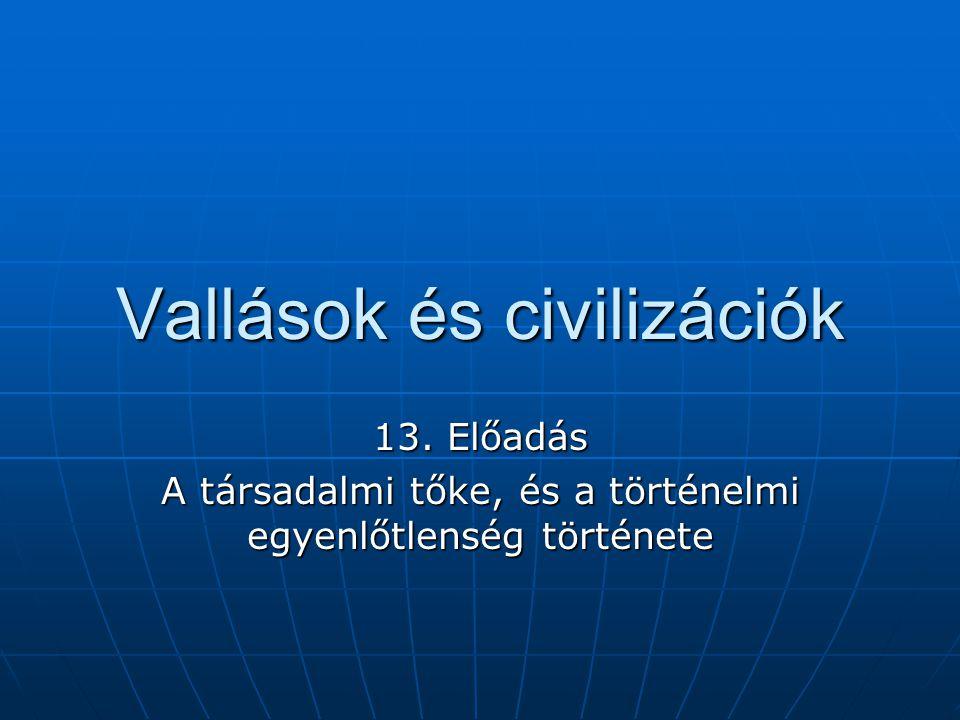 Vallások és civilizációk 13. Előadás A társadalmi tőke, és a történelmi egyenlőtlenség története