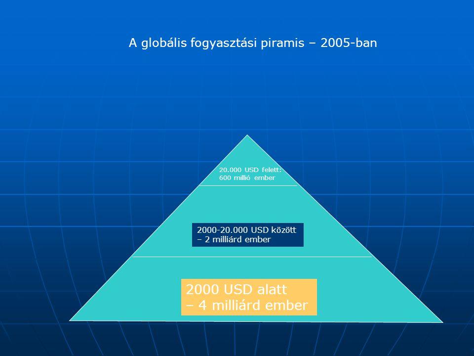 2000 USD alatt – 4 milliárd ember 2000-20.000 USD között – 2 milliárd ember 20.000 USD felett: 600 millió ember A globális fogyasztási piramis – 2005-