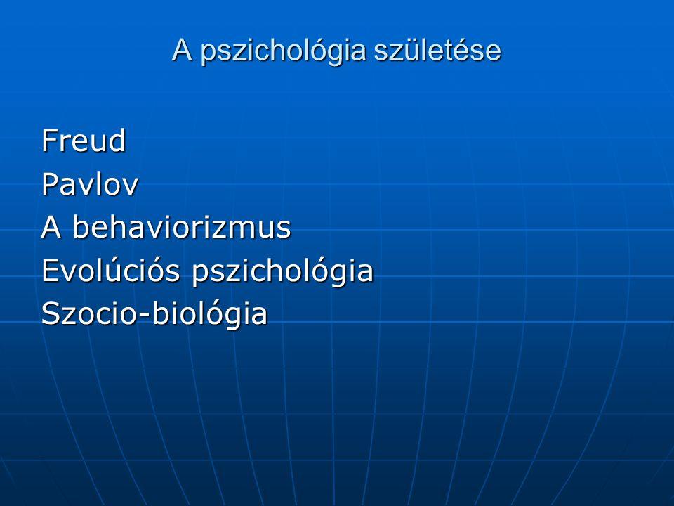 A pszichológia születése FreudPavlov A behaviorizmus Evolúciós pszichológia Szocio-biológia