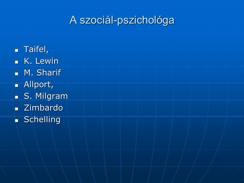 A szociál-pszichológa Taifel, Taifel, K. Lewin K. Lewin M. Sharif M. Sharif Allport, Allport, S. Milgram S. Milgram Zimbardo Zimbardo Schelling Schell