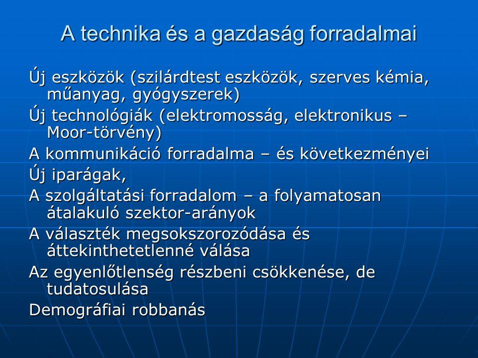 A technika és a gazdaság forradalmai Új eszközök (szilárdtest eszközök, szerves kémia, műanyag, gyógyszerek) Új technológiák (elektromosság, elektroni