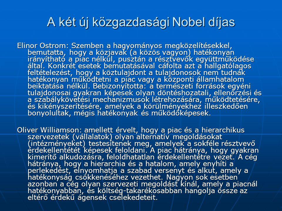 A két új közgazdasági Nobel díjas Elinor Ostrom: Szemben a hagyományos megközelítésekkel, bemutatta, hogy a közjavak (a közös vagyon) hatékonyan irányítható a piac nélkül, pusztán a résztvevők együttműködése által.