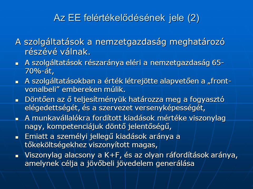 Az EE felértékelődésének jele (2) A szolgáltatások a nemzetgazdaság meghatározó részévé válnak. A szolgáltatások részaránya eléri a nemzetgazdaság 65-