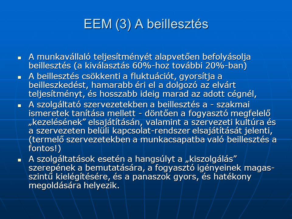 EEM (3) A beillesztés A munkavállaló teljesítményét alapvetően befolyásolja beillesztés (a kiválasztás 60%-hoz további 20%-ban) A munkavállaló teljesí