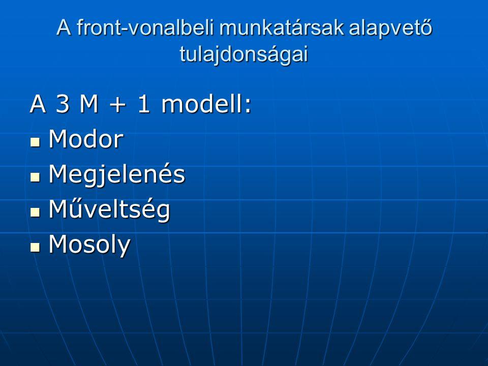 A front-vonalbeli munkatársak alapvető tulajdonságai A 3 M + 1 modell: Modor Modor Megjelenés Megjelenés Műveltség Műveltség Mosoly Mosoly