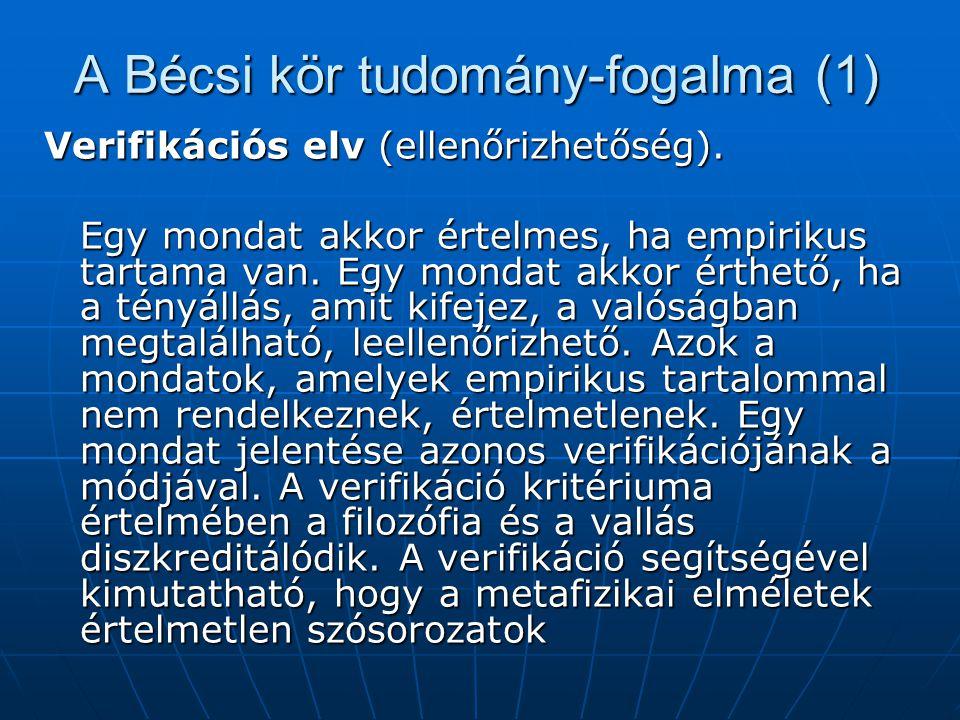 A Bécsi kör tudomány-fogalma (1) Verifikációs elv (ellenőrizhetőség). Egy mondat akkor értelmes, ha empirikus tartama van. Egy mondat akkor érthető, h