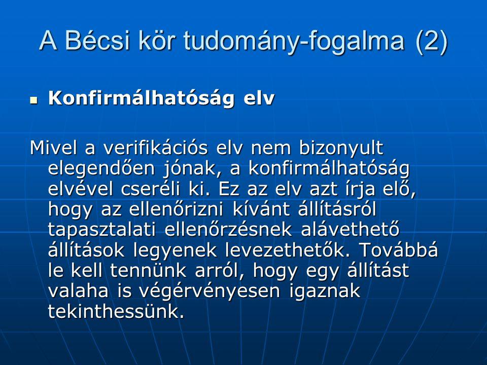 A Bécsi kör tudomány-fogalma (2) Konfirmálhatóság elv Konfirmálhatóság elv Mivel a verifikációs elv nem bizonyult elegendően jónak, a konfirmálhatóság